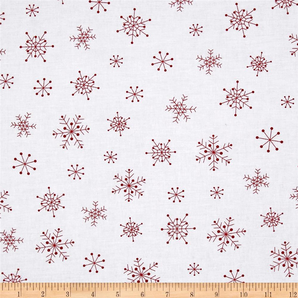 Timeless Treasures Holiday Snowflakes White/Red