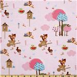 FT-867 Forest Friends All Over Animals Pink