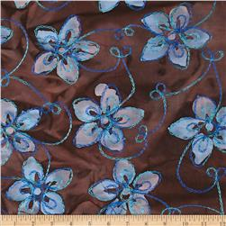 Embroidered Indian Batik Floral Blue/Chocolate