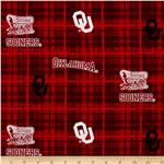 ET-422 Collegiate Cotton Broadcloth University of Oklahoma Plaid Red
