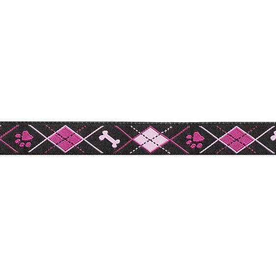 "5/8"" Ribbon Doggy Argyle Black/Pink"