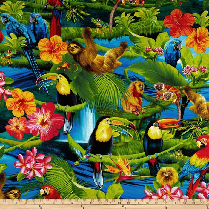Timeless Treasures Parrots & Sloth Multi