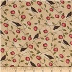 Harvest Town Flannel Apples & Birds Khaki