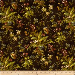 Chenonceau Flannel Floral Leaf Brown