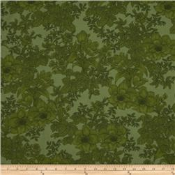 Large Floral Forest Green
