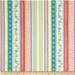 0285441 Backyard Butterflies Ribbon Stripe Pink/Turquoise