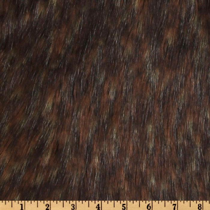 Faux Fur Spotted Wolf Brown/Beige