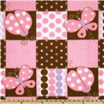 Fleece Lady Bugs &amp; Butterflies Pink/Brown