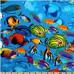FH-864 Timeless Treasures Tropical School of Fish Blue