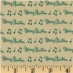 Moda Dear Mr. Claus Merry Christmas Notes Eggnog Green