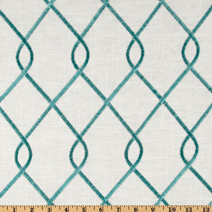 Duralee Home Embroidered Rico Aqua