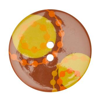 Fashion Button 1-3/8&#39;&#39; Confetti Chains Orange/Gold/Brown