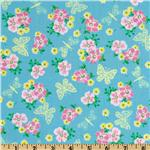 Peggy Sue Butterflies Floral Sky Blue