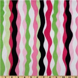 Kaufman Minky Cuddle Ribbon Party Hot Pink/Lime