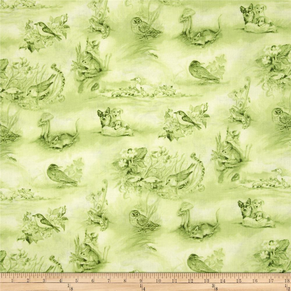 A Child's Garden of Verses Bunny Toile Green