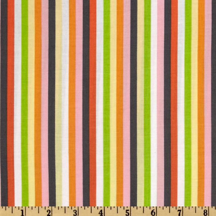 Timeless Treasures Now We&#39;re Goin&#39; Places Stripes Pink/Grey