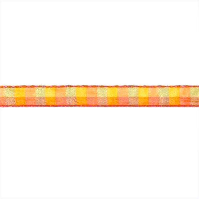 1/2&#39;&#39; Check Stitch Ribbon Orange/Yellow/Pink