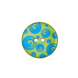 "Dill Novelty Button 1 3/8"" Swirl Turquoise/Lime"