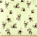 0283717 Minky Cuddle Playing Monkeys Sage/Brown