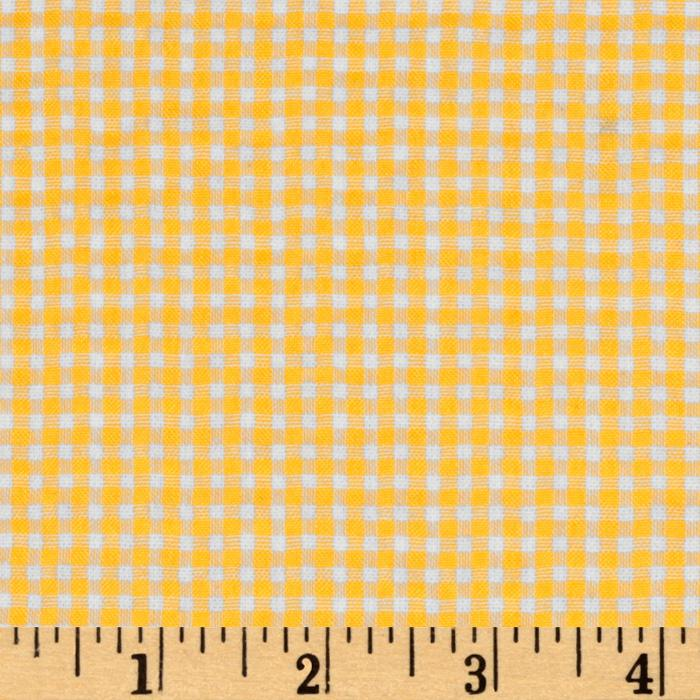 Woven Poly/Cotton Seersucker Gingham Yellow