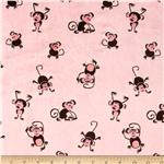 Minky Cuddle Playing Monkeys Light Pink/Brown