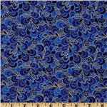 Timeless Treasures Shimmer Petals Gold/Royal