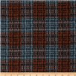 0275552 Wool Blend Coating Chunky Plaid Rust/Green