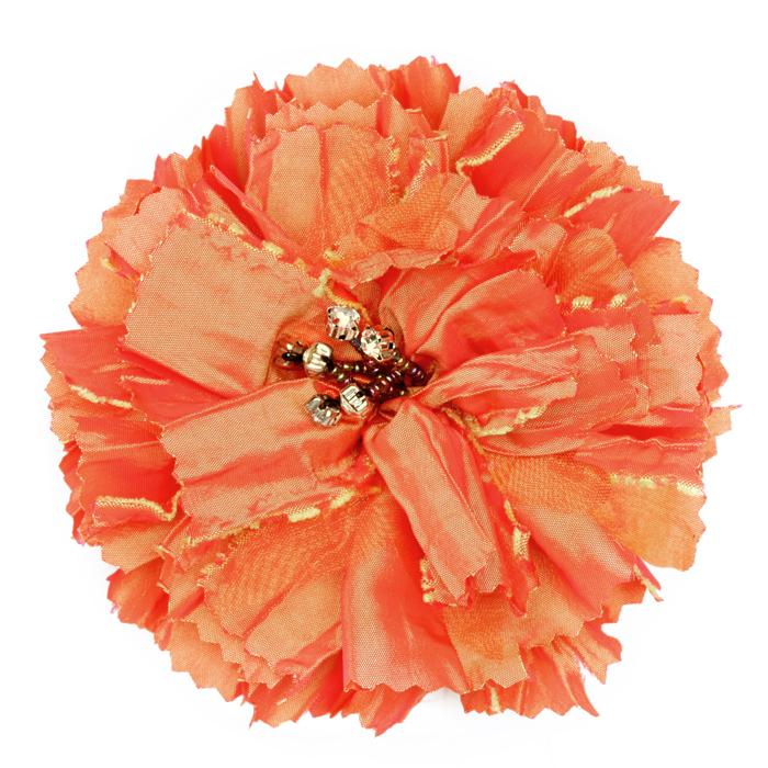 Florentina Jeweled Brooch 4'' X 4'' Orange