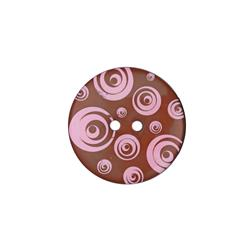 "Dill Novelty Button 1 3/8"" Swirl Pink/Brown"