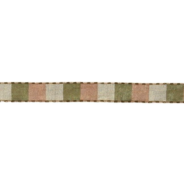 "1/2"" Squares Stitiched Edge Taffeta Ribbon Antique/Olive"