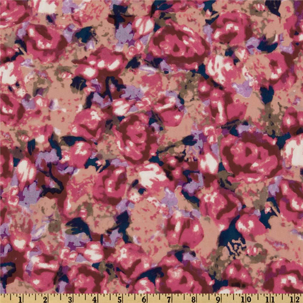 Crepe de Chine Floral Pink/Peach/Purple