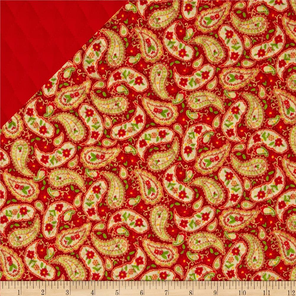 Season's Greetings 2013 Double Sided Quilted Paisley Red