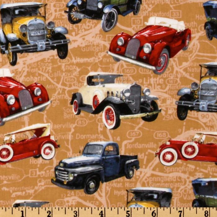 Vintage Cars Toss Tan/Multi