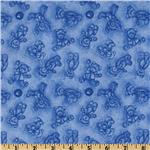Boyds Bears Flannel Bear Toile Blue