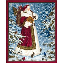 Father Christmas Metallic Panel Red