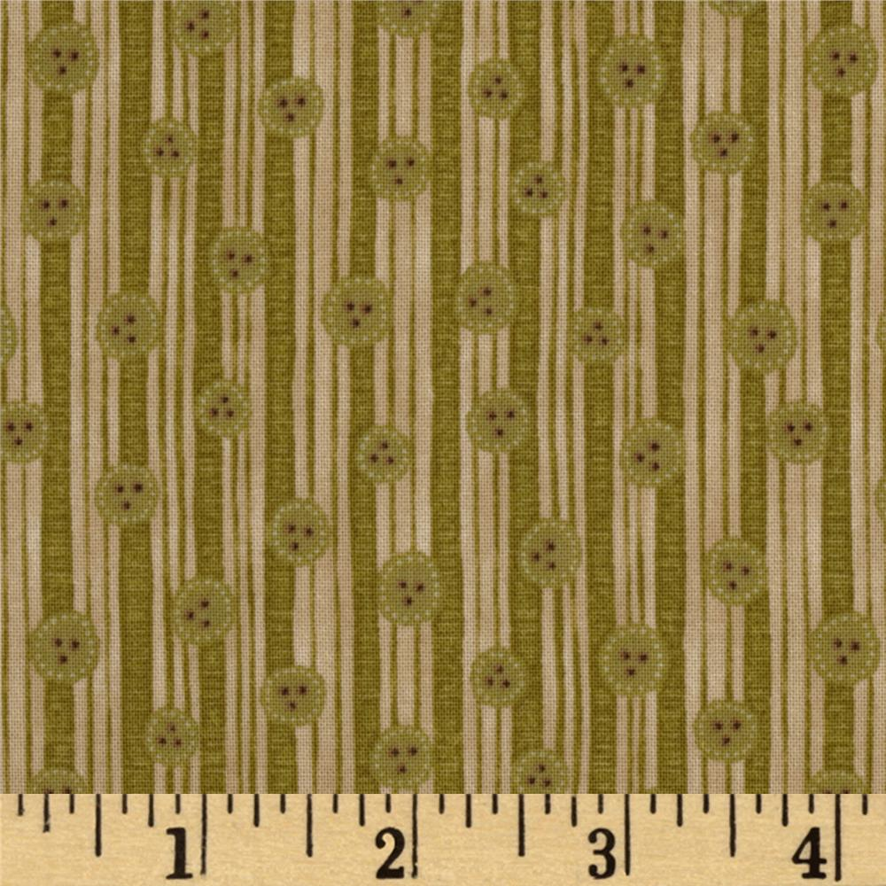 Christmastime Button Stripe Olive/Khaki