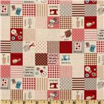 FK-704 Kokka Trefle Cotton/Linen Canvas Sewing Blocks Red