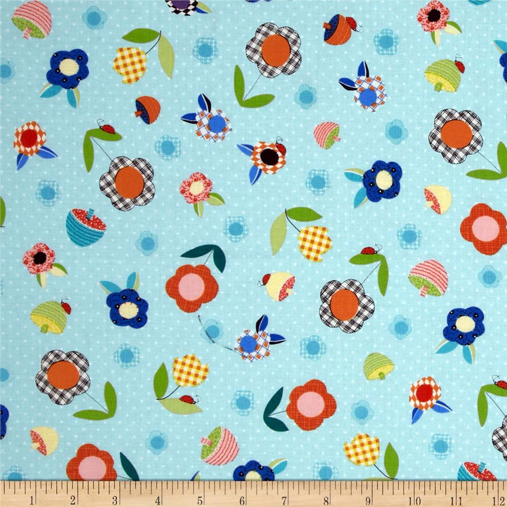 Patchwork Pals Tossed Flowers Aqua