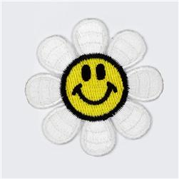 Boutique Applique Daisy Smiley Face White