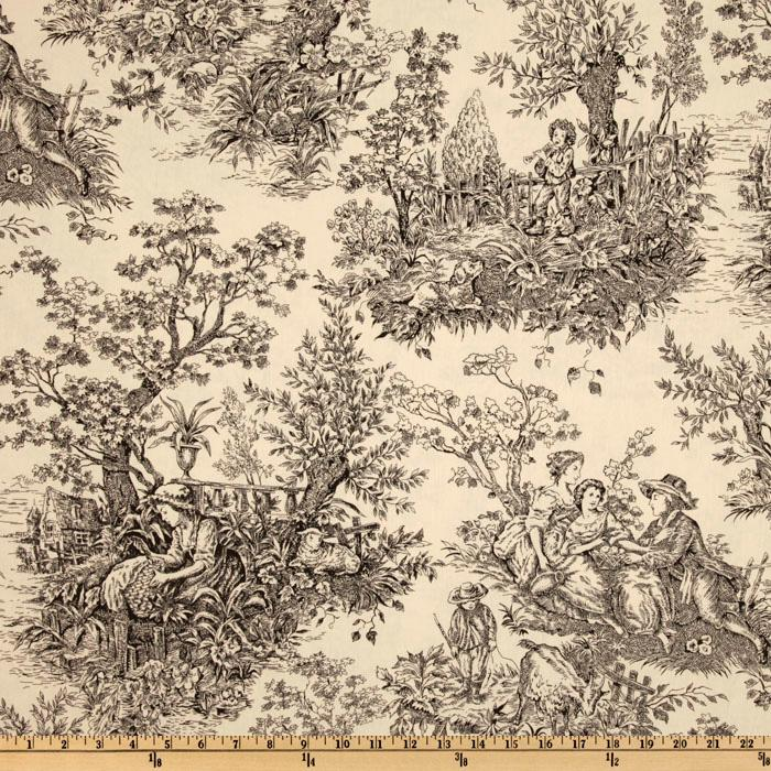 "Timeless Treasures French Court 108"" Quilt Backing Toile Black/Cream"