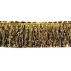 Decorative Trim Gourdon 2 1/4'' Brush Fringe Olive/Crimson/Gold