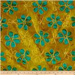 0269086 Textile Creations Embroidered Rayon Batik Daisy Turquoise/Gold