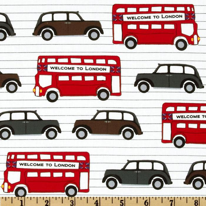 Next Stop: London Buses & Cars White