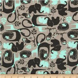 Flannel Zoo Animals Mint