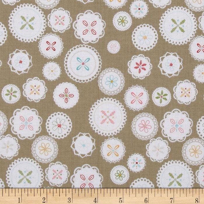 Riley Blake Polka Dot Stitches Doily Grey