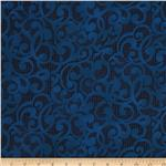 "Filigree 108"" Wide Quilt Backing Navy"