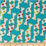 232497 Savanna Bop Flannel Giraffes Turquoise