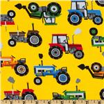 Timeless Treasures Tractors Yellow