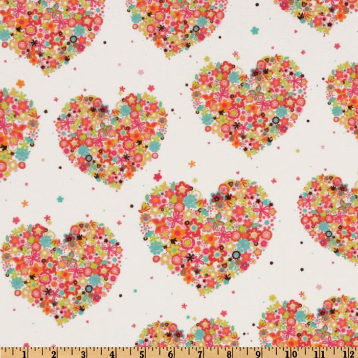 Michael Miller Flannel Hearts &amp; Flowers Watermelon