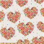EN-295 Michael Miller Flannel Hearts & Flowers Watermelon